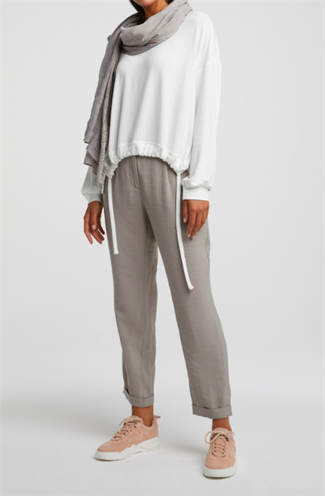 YAYA Jersey Modal Sweater Drawstring Off White