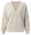 YAYA Boxy V-neck Sweatshirt Light Sand