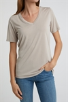 YAYA T-shirt V-neck Modal Beach Sand