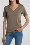 YAYA T-shirt V-neck Modal Brown Clay