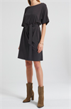 YAYA Jersey Pleated Midi Dress Almost Black